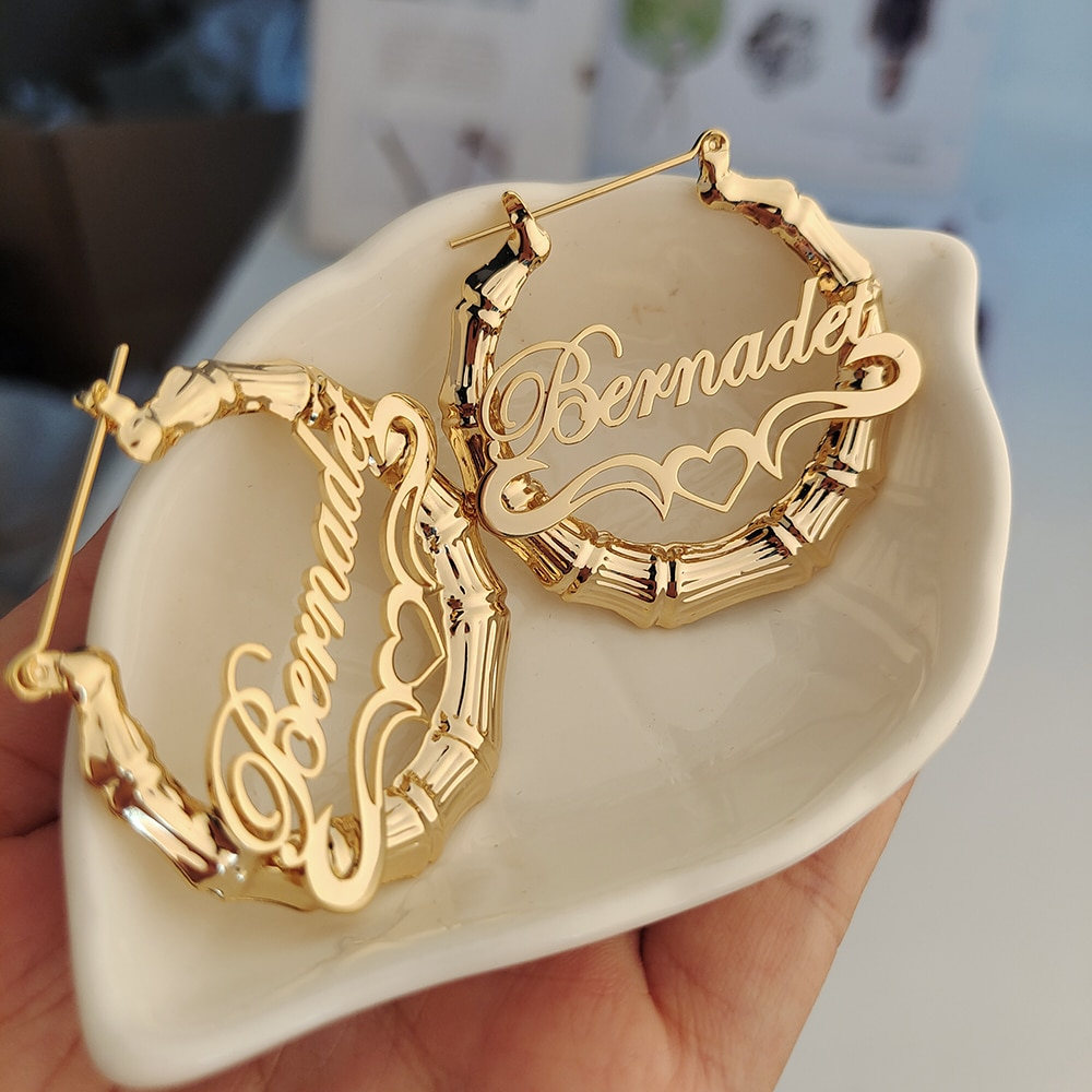 40mm-100mm Bamboo Earrings Customize Name Earrings  Custom Hoop Bamboo Style Personality Earrings With Heart-shaped design below