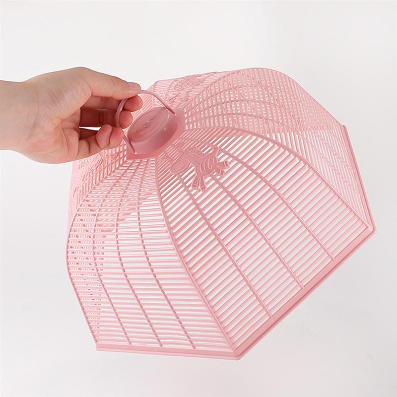 Cubierta de plástico para alimentos, cubierta de mesa para tienda, plegable para Cocina Casera (rosa)