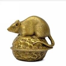 Bronze clair 12 rats du zodiaque Fengshui   Ornements, souris de prévention des catastrophes et dopération en cuivre, souris en noyer et bronze