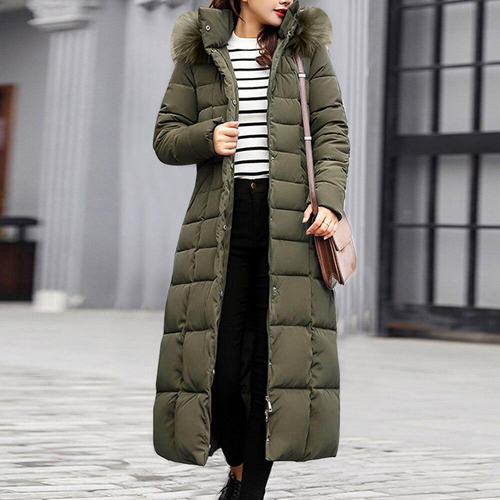 2020 New Style Trendy Coat Women Winter Jacket Cotton Padded Warm Maxi Puffer Coat Lady Long Coats Parka Femme Jacket