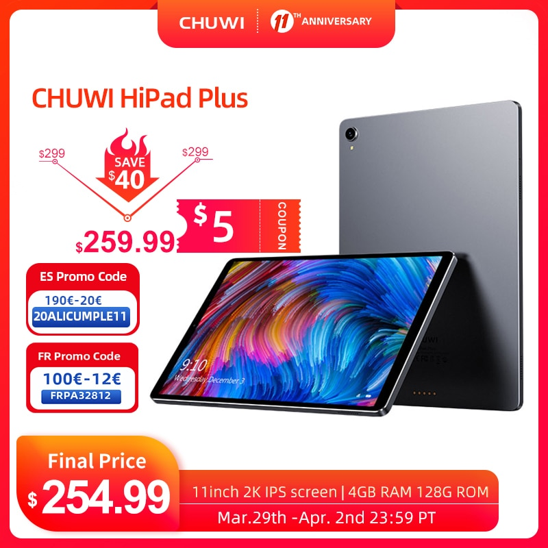 CHUWI HiPad Plus 2K IPS screen 11inch Tablets MT8183V/A Octa Core  4GB RAM 128G ROM Android 10.0 system 2.4G+5G Dual band wifi