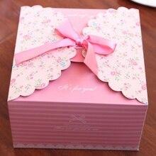 5pcs 웨딩 사탕 상자 보석 선물 케이스 파우치 호의 과자 초콜릿 상자 청록색 사각형 상자 실크 리본