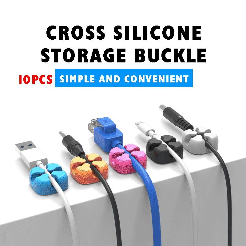 10 Uds. Fijador de Cable cruzado organizador de Cable de escritorio Clip de Cable de silicona Cable de datos hebilla de almacenamiento Cable de un solo puerto cinco colores