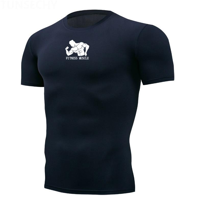 Быстросохнущая компрессионная Мужская футболка с коротким рукавом, футболки для бега, фитнеса, облегающая футболка для фитнеса, брендовая Спортивная одежда для спортзала