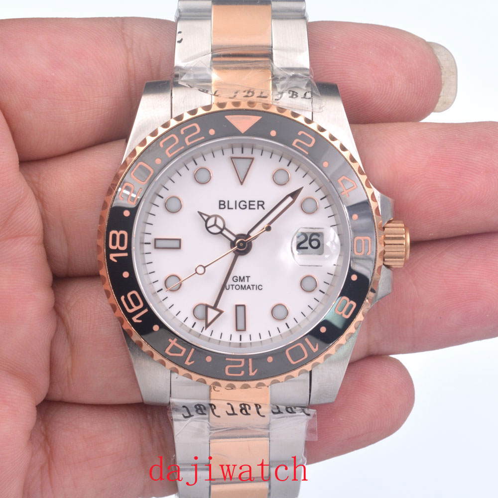 Reloj de movimiento automático de cristal de zafiro de esfera blanca de lujo Bliger de 40mm, reloj de hombre GMT, Panel de cerámica negra, calendario automático
