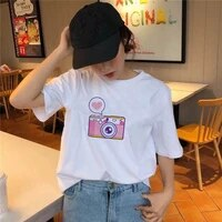 cute girls t shirt white summer short sleeve oversize fashion female top tees tshirts aesthetic streetwear ladies clothes