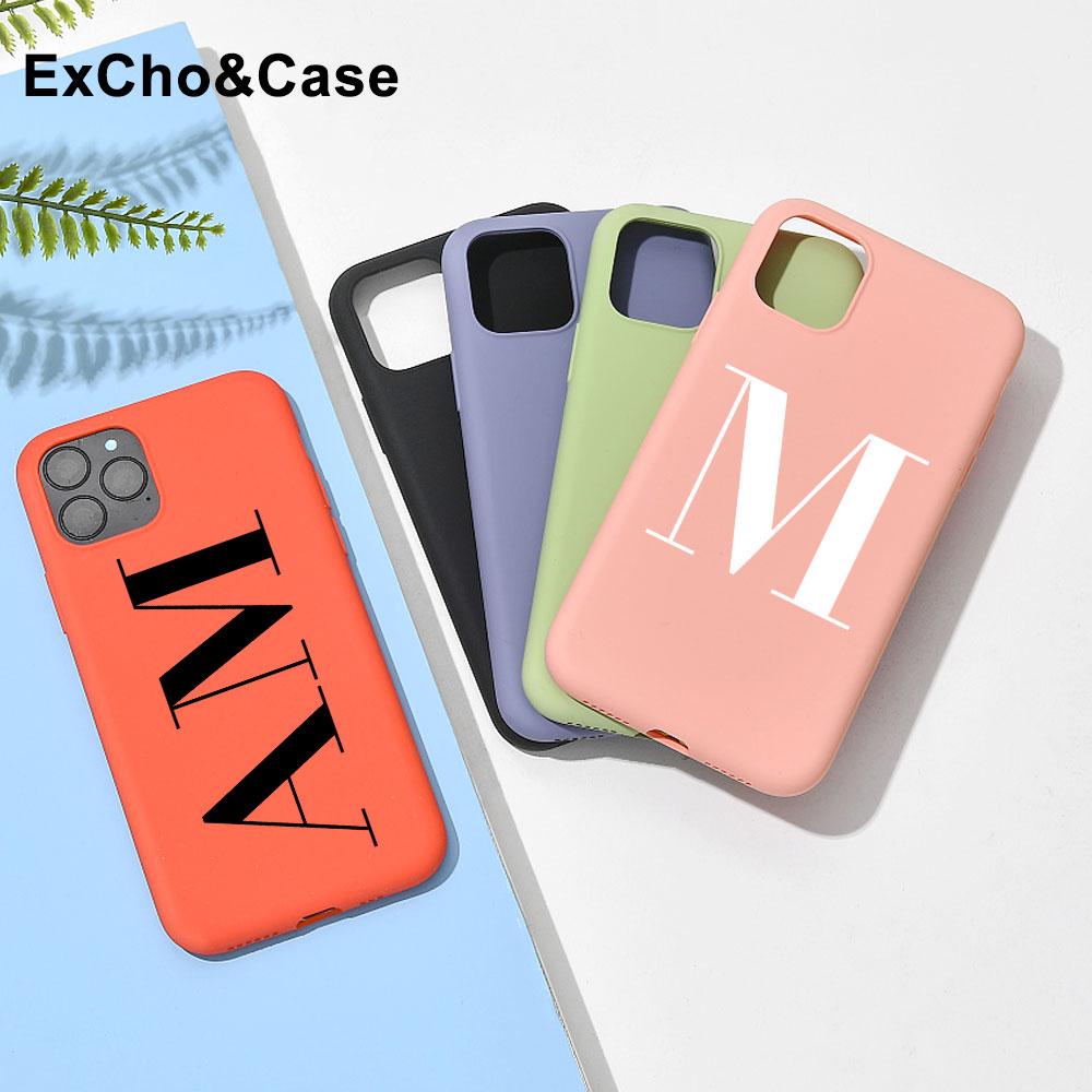 Funda de silicona líquida con nombre personalizado para teléfono móvil, carcasa con letras iniciales para iphone SE 6 6S 7 8 Plus X XS XR XS Max 11 Pro 12 Mini MAX