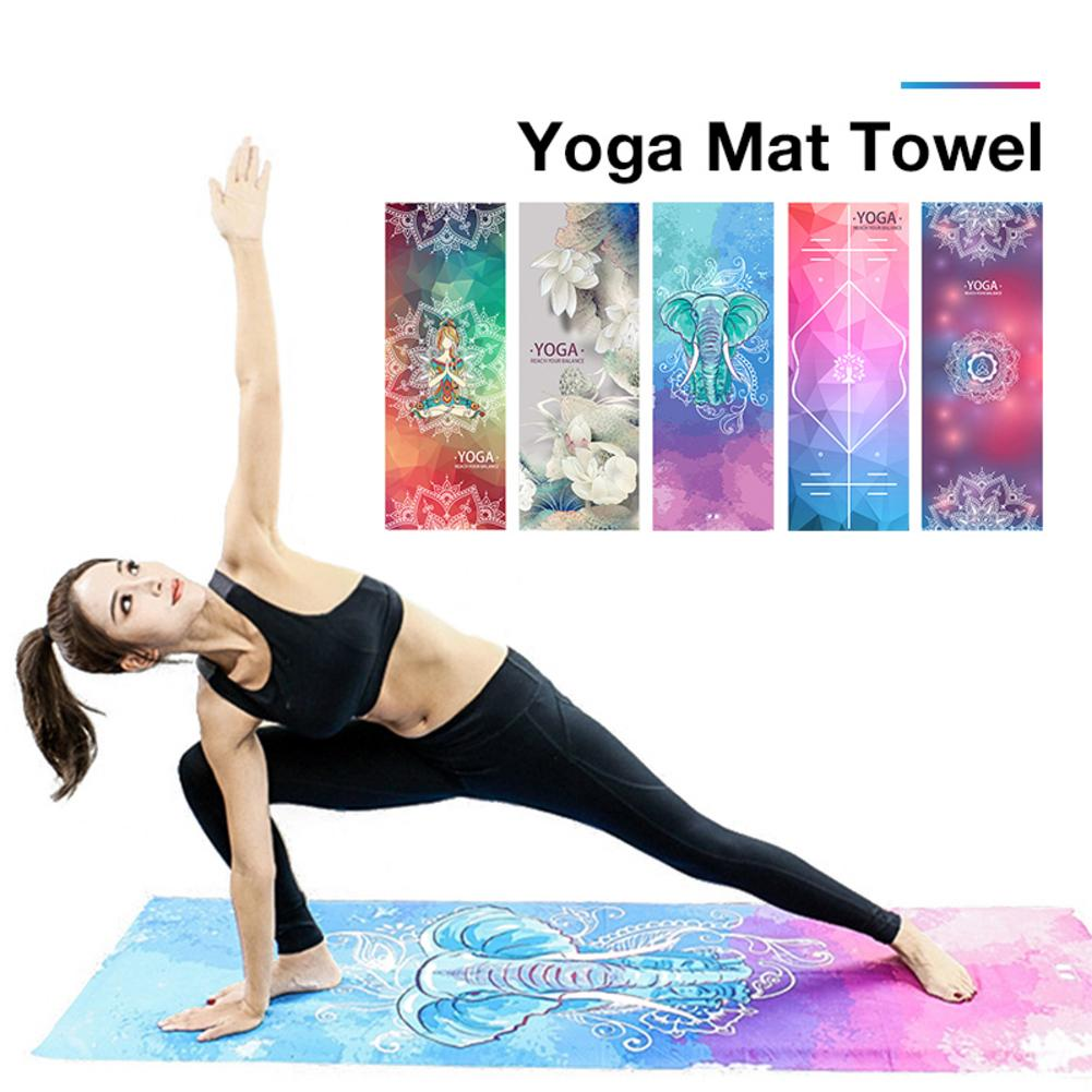 65*183cm portátil yoga cobertor toalha antiderrapante dobrável suor absorvente impresso yoga toalha tapete capa