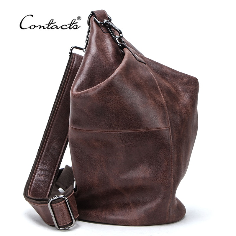 CONTACTS 100% Genuine Leather Crossbody Bag for Men Large Capacity Shoulder Messenger Bags Male Casual Chest Pack Bolsos