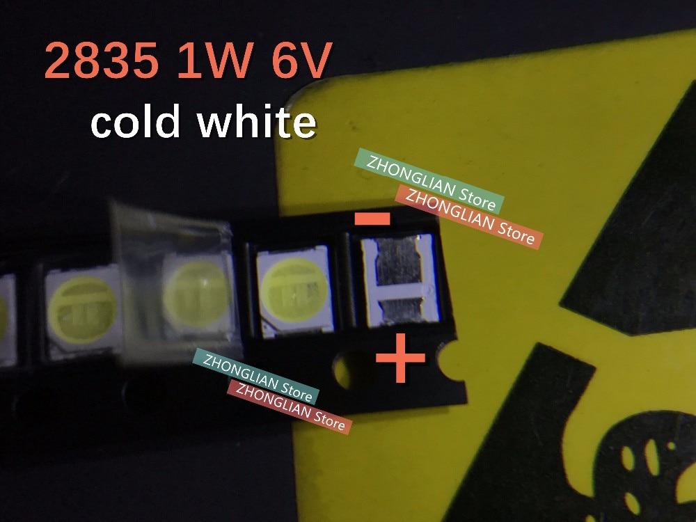 100 unids/lote 3528 LED 1W 6V 2835 3528 LCD TV retroiluminación bombilla blanco frío 96LM