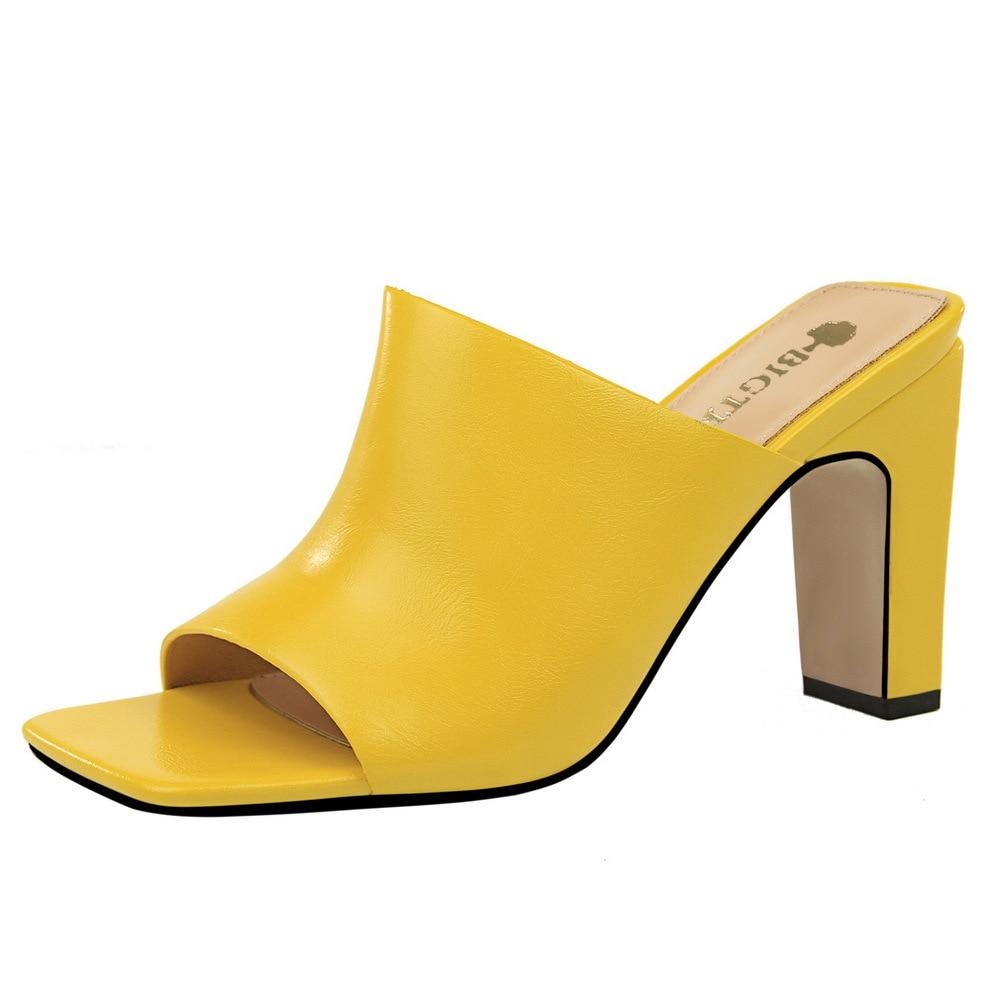 Fujin sandalias de mujer de alta calidad de punta cuadrada de tacón alto 8,5 cm zapatillas de verano Zapatos Slip on Slides moda bombas Sexy mulas fiesta