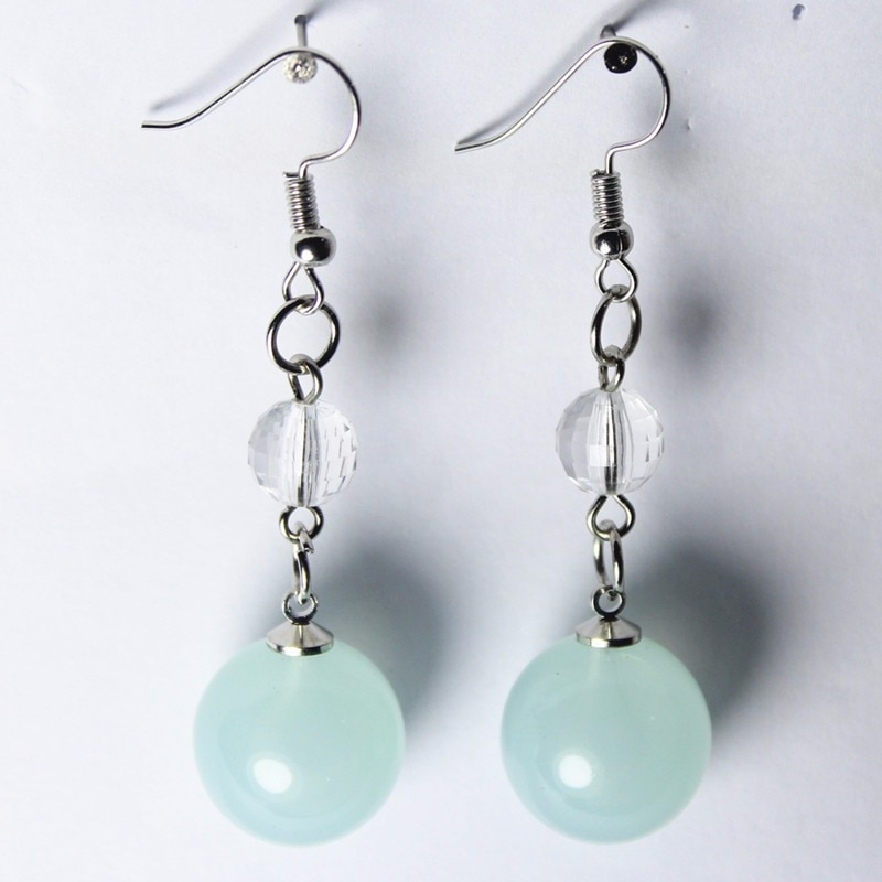 New Imitation Pearl Drop Earrings Big Candy Color Bead Women Hang Dancing Jewelry Personality Party Gifts