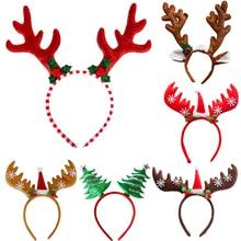 Christmas Headbands Christmas Tree Reindeer Antlers Hairband Xmas Party Kids Hairhoop 2020 Christmas Glasses Photo Booth Props