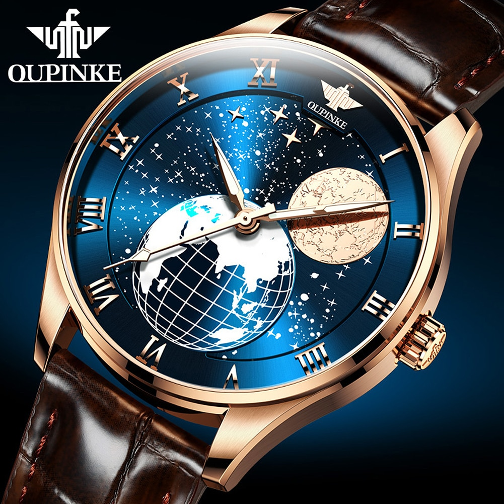 OUPINKE Automatic Watch Top Brand Luxury Men Mechanical Wristwatches Moon Phase Waterproof Leather W