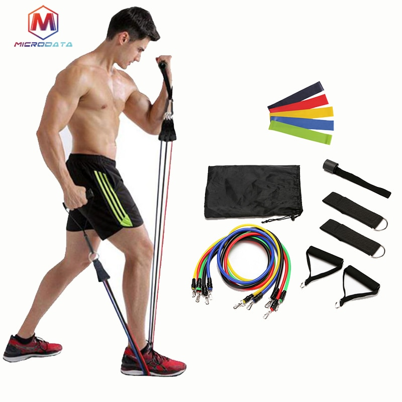 16pcs Resistance Bands Set Fitness Bands Resistance Gym Equipment Exercise Bands Pull Rope Fitness Elastic Training Expander