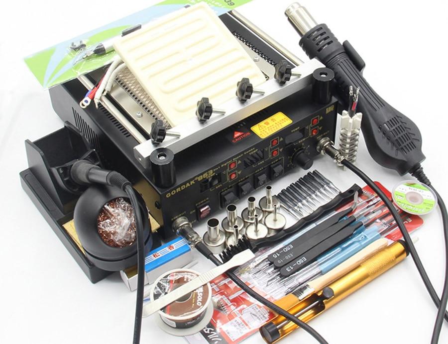 Gordak 863 853 بندقية حرارية بالهواء الساخن بغا محطة لحام إعادة صياغة سبيكة لحام كهربائي الأشعة تحت الحمراء محطة التسخين مع