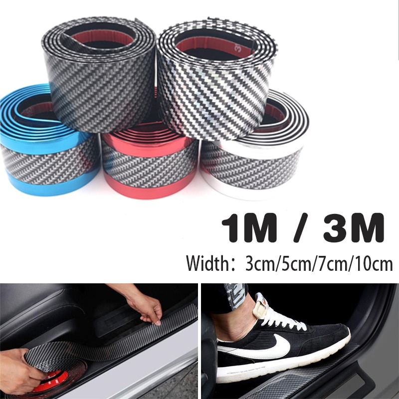 Tira de moldeado de caucho de fibra de carbono tira de parachoques de ajuste negro suave DIY alféizar de la puerta Protector de borde de coche pegatinas de diseño de coche 1M