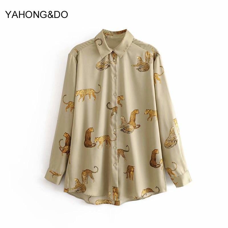 ZA mujer otoño blusa 2019 nueva moda leopardo animal dibujos animados impreso camisetas de manga larga Mujer casual amarillo algodón blusas top