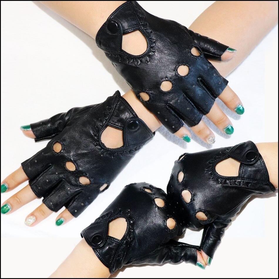 Женские кожаные перчатки, перчатки из овечьей кожи с полупальцами, Спортивные Перчатки для фитнеса и вождения, тонкие однослойные кожаные т...