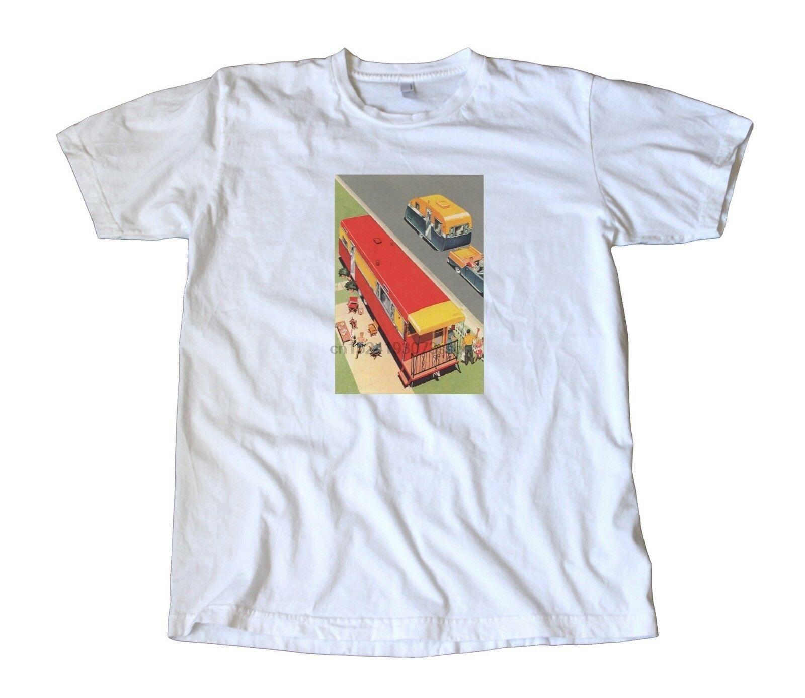 T-Shirt z naklejkami w stylu Vintage-Airstream Shasta Spartan piknik BBQ RV