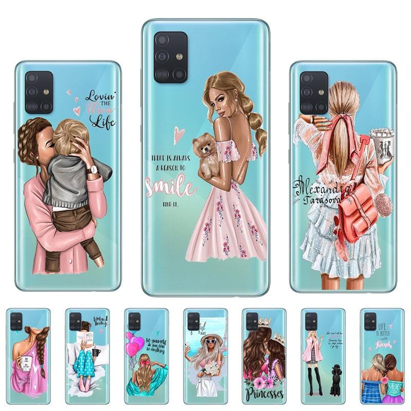 Para Huawei Nova 5T funda bebé niña transparente moda mamá cubierta de lujo para Huawei P10 Lite P30 P20 Pro P Smart Z 2019 Plus 2018