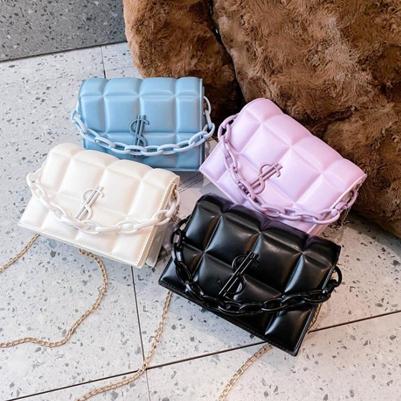 2020 New High Quality PU Leather Flap Bags Square Crossbody Bag Women Brand Designer Handbags Lady Travel Shoulder Messenger Ba