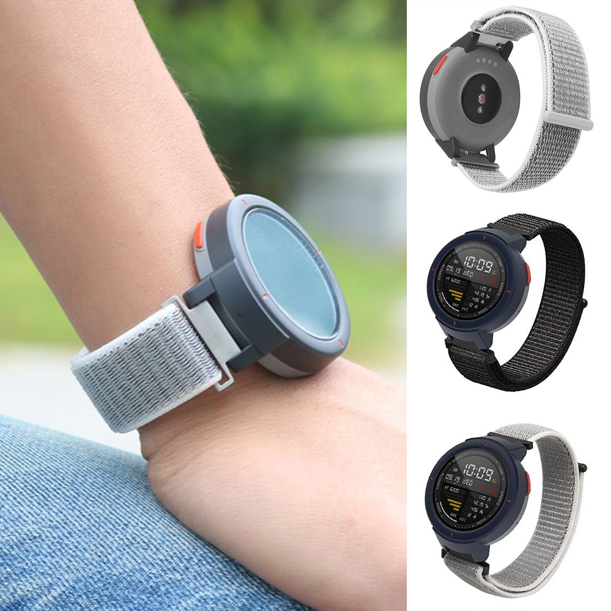 SOONHUA correa de reloj de nailon ajustable correa de reloj de bucle Flexible correas para Huami Amazfit Verge 3