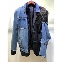 2021 autumn new 10 24 casual fashion heavy industry beading patchwork denim blazer jacket coat women sleeve removable