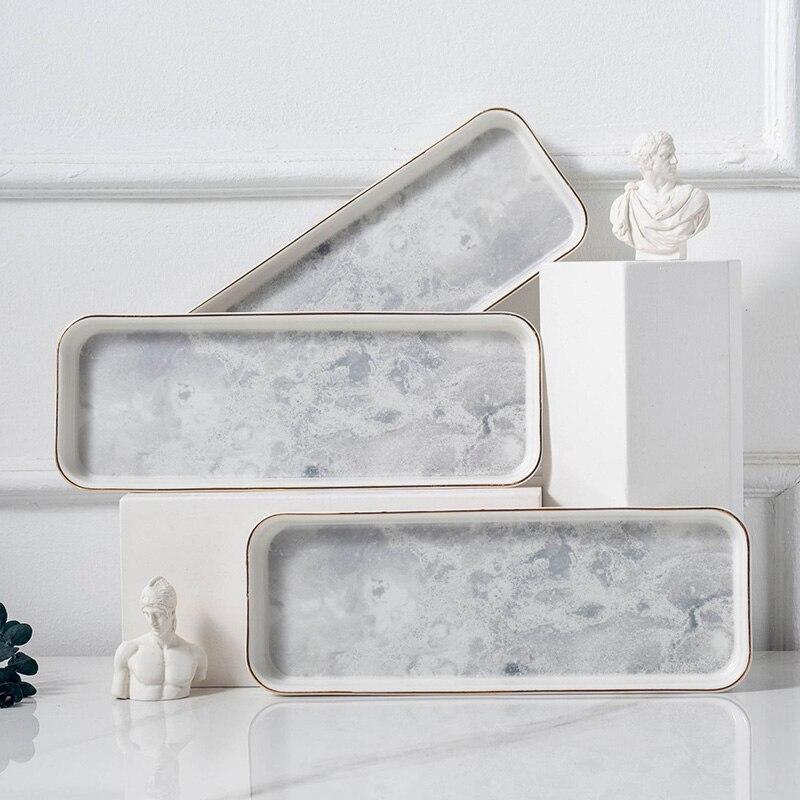 السيراميك لوحة الرخام جولة صينية الذهبي حافة شريحة لحم أدوات المائدة ماتي والسكاكين طبق سطح القمر تصميم المنزل الديكور لوحات 1 قطعة