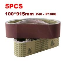 5Pcs Schleifen Gürtel 915*100mm 40-100 0 Grit Sortiment Metall Schleifen Aluminium Bands Polierer Oxid sander