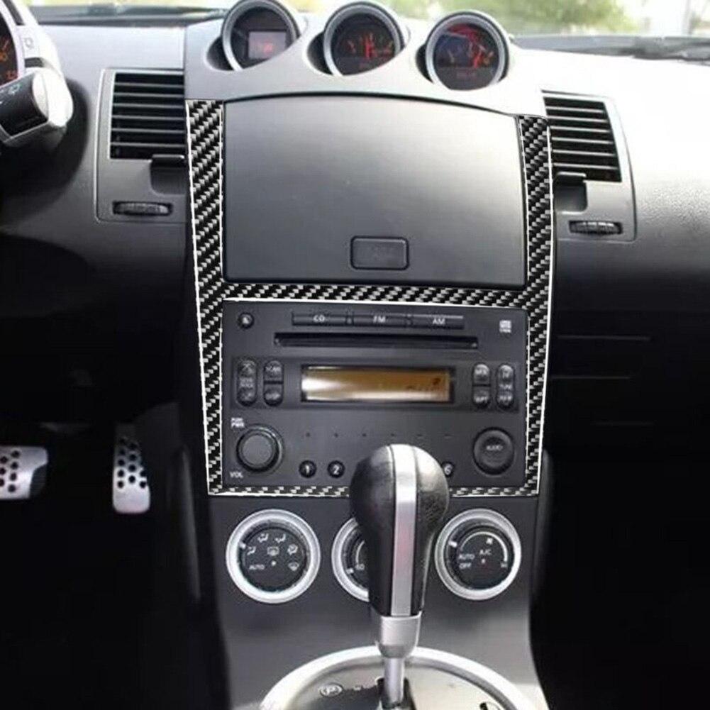 Pegatina de fibra de carbono para Panel de navegación GPS Interior para Nissan 350Z 2003-2009 accesorios de estilo de coche
