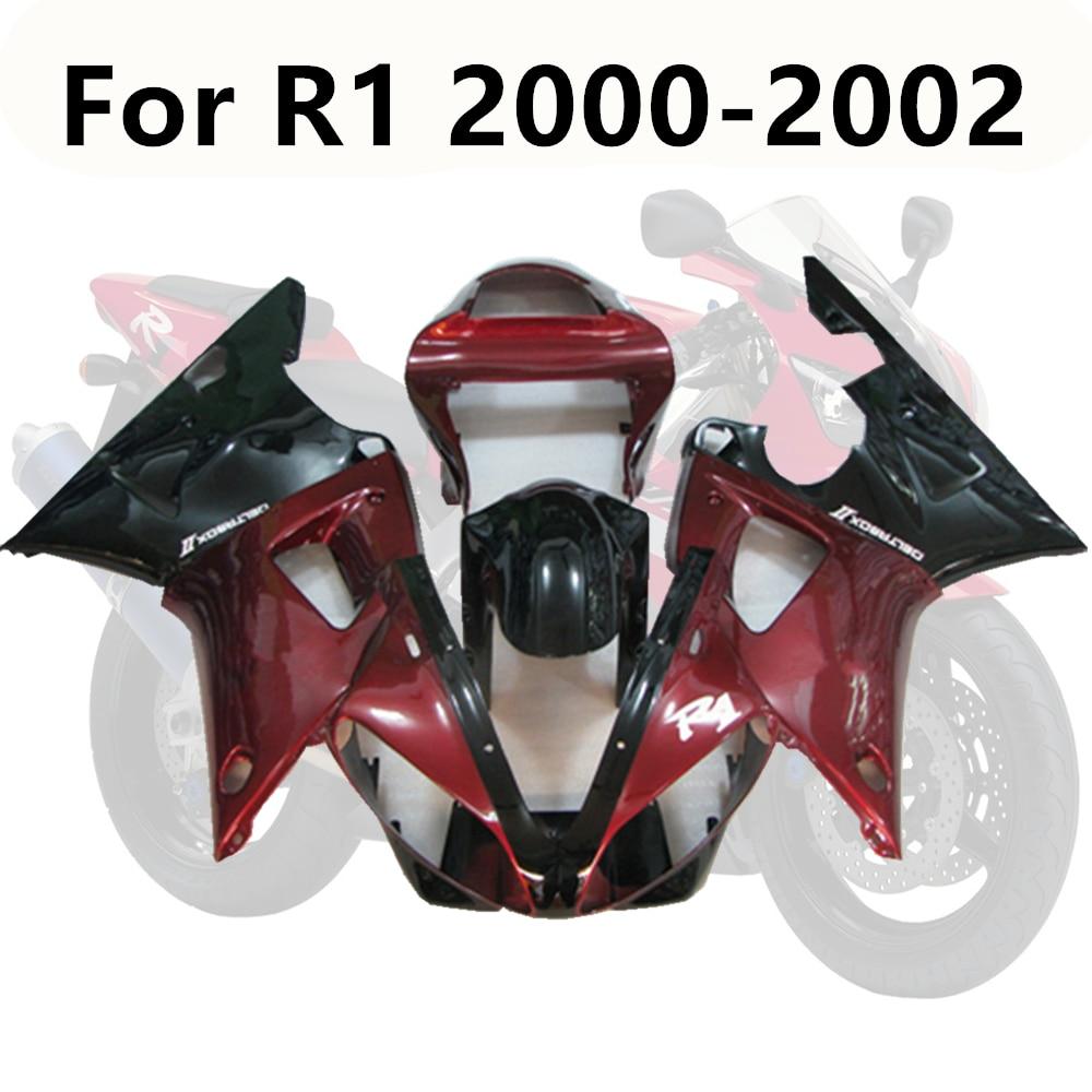 6 couleur moto pour Yamaha R1 2000 2001 00-01 ABS carrosserie Kit plastiques capot rouge foncé complet carénage Kits moulage par Injection