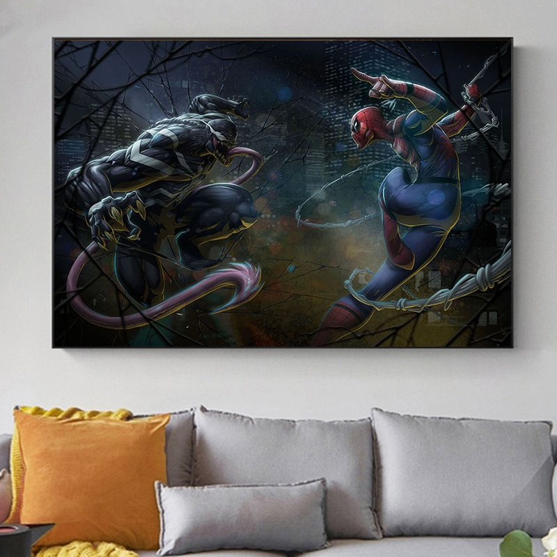 pelicula-de-los-vengadores-de-marvel-spidey-vs-venom-afiche-de-superheroe-y-lienzo-impreso-cuadro-de-arte-de-pared-para-decoracion-del-hogar-y-la-sala-de-estar