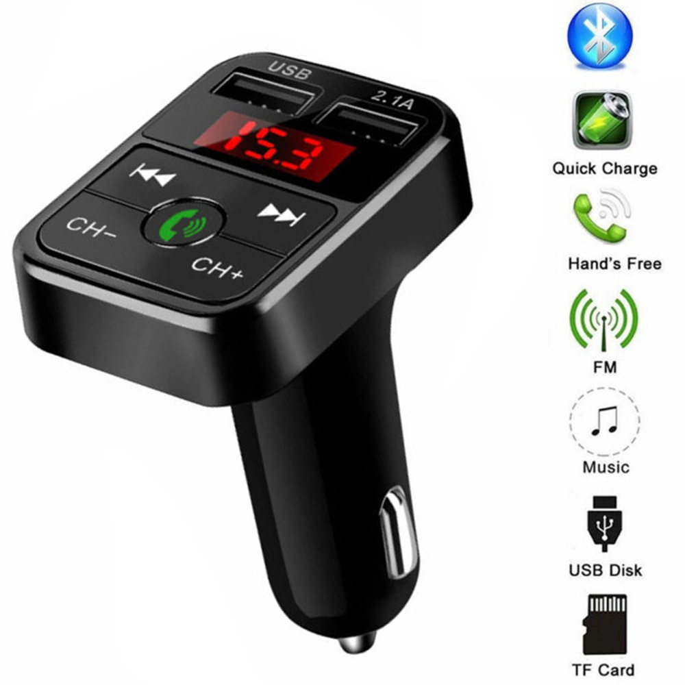 ABS coche transmisor FM negro Auto Radio Bluetooth MP3 cargador USB REPRODUCTOR DE 5V 2.1A