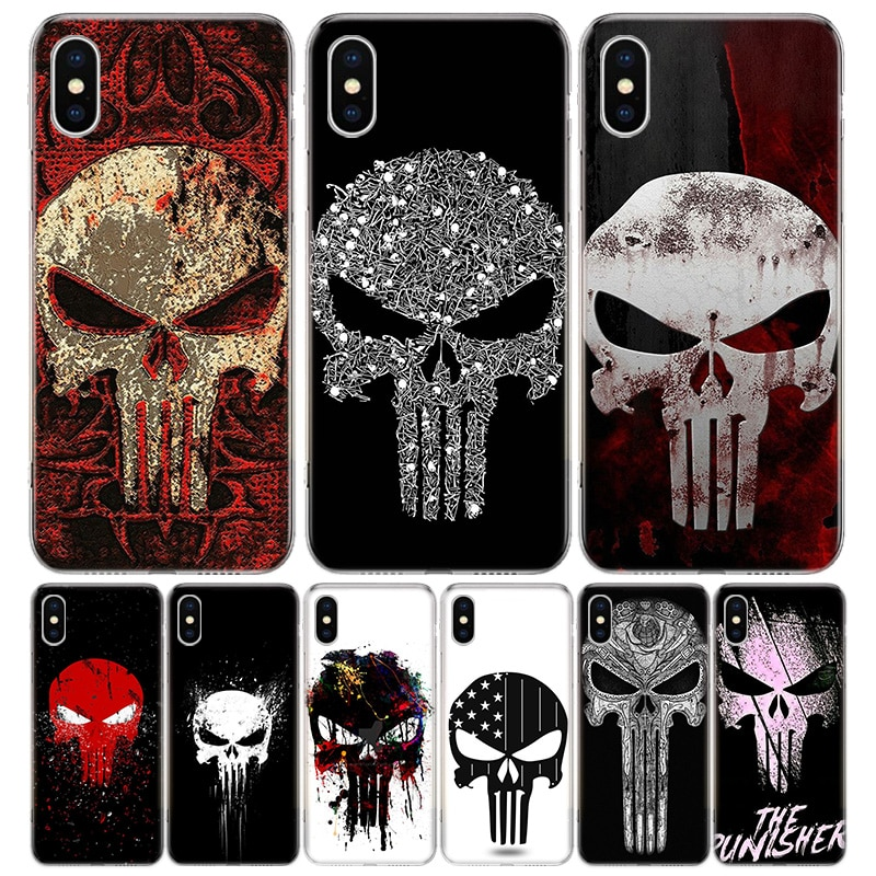 Marvel Каратель Череп чехол для телефона для Iphone 11 Pro 7 6X8 6S Plus XS MAX + XR 5S SE 10 9 Art TPU Coque Capa Shell