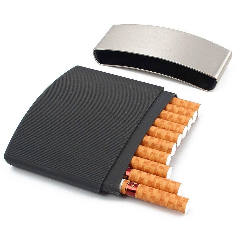 Paquete de 10 paquetes de caja de cigarrillos ultrafina para hombres, impermeable y a prueba de presión, portátil, pitillera de Metal, estuche cigarrillo, accesorios