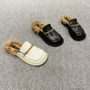 Women's shoes 2020 autumn and winter new sheep curly hair Baotou half slippers women leather outer wear mules