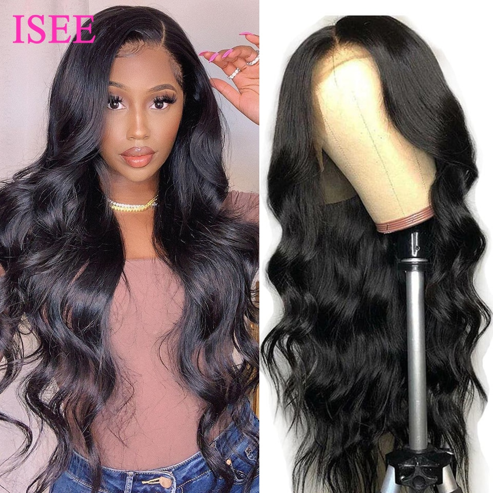 ISEE Hair Wig Body Wave Lace Front Wigs Full HD 4x4 Lace Closure Wigs For Women Human Hair Peruvian