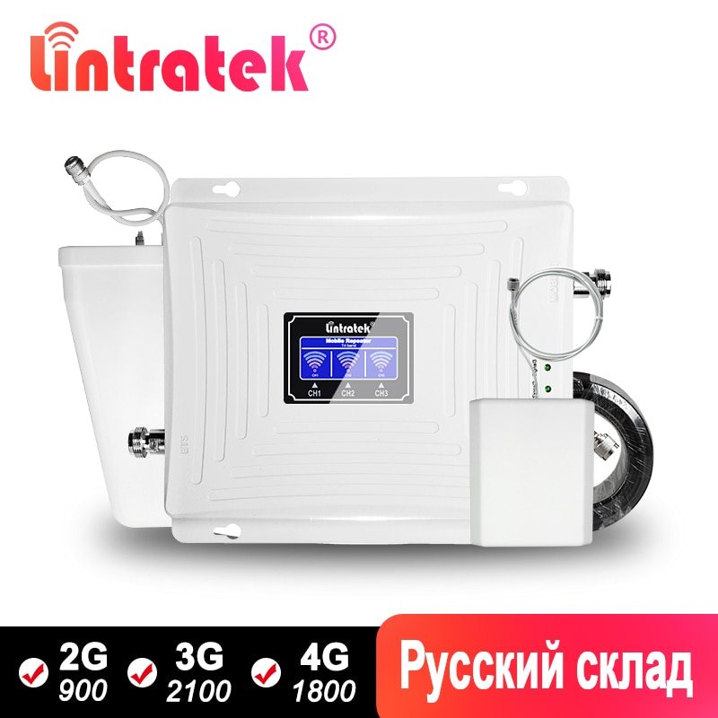 Lintratek Signal Repeater 2G 3G 4G GSM Booster 900 LTE 1800Mhz Repeater UMTS 2100 Tri band Mobile Amplifer with LPDA Antenna