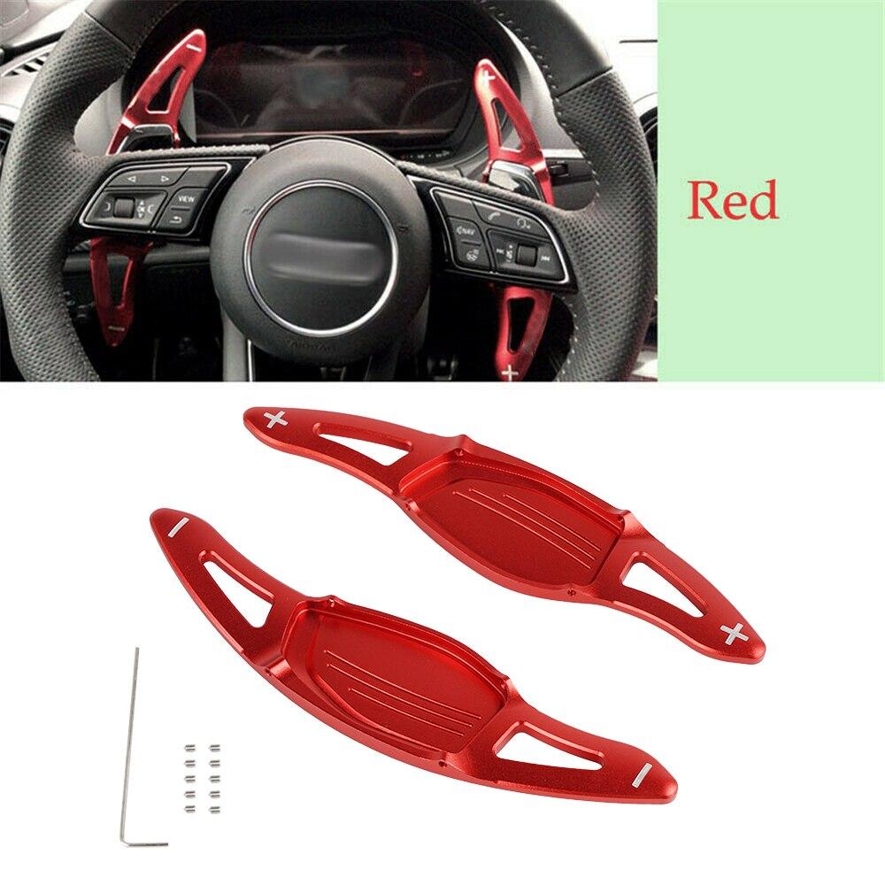 Par de extensión de paleta de cambio de volante de coche de aluminio rojo para Audi R8 RS3 RS4 RS5 TT