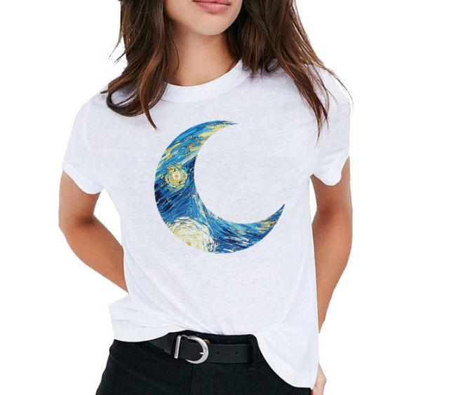 Impressão a óleo da lua girassol t camisa das mulheres manga curta o pescoço solto tshirt verão camisa das mulheres camisa