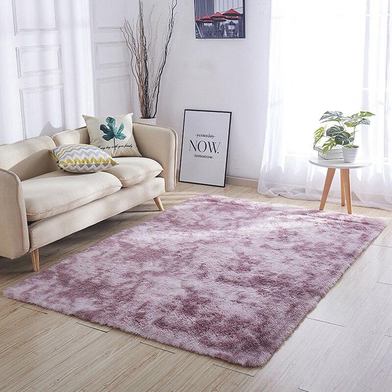 Shaggy tie-dye tapete impresso alfombra piso de pelúcia tapetes macios quarto dos miúdos do falso pele área tapetes da sala de estar cobertor de seda