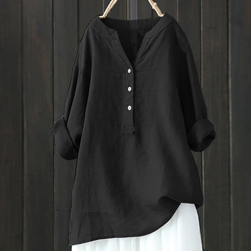 T camisas De talla grande De algodón De las mujeres De cuello...