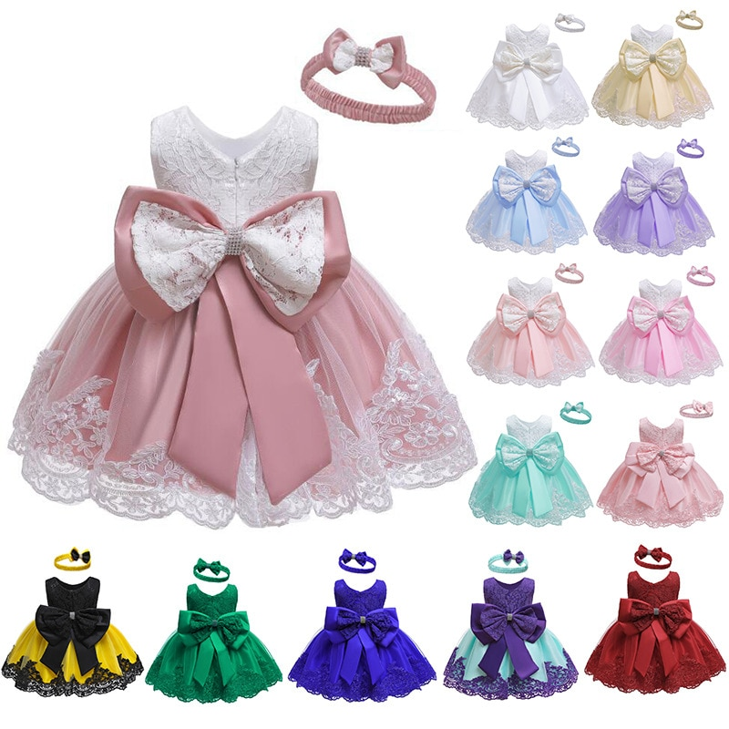 Baby Girls Princess Dress And Hairband 2Pcs Elegant Bow Toddler Girl 1 Years Birthday Party Lace Ball Gown Vestidos Kids Dresses newborn girl infant baby birthday wedding party dress ball gown princess lace up long sleeve front bow kids girl clothes