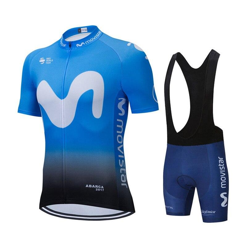 Movistar-Ropa de Ciclismo para hombre, Kit de pantalones cortos de babero de...