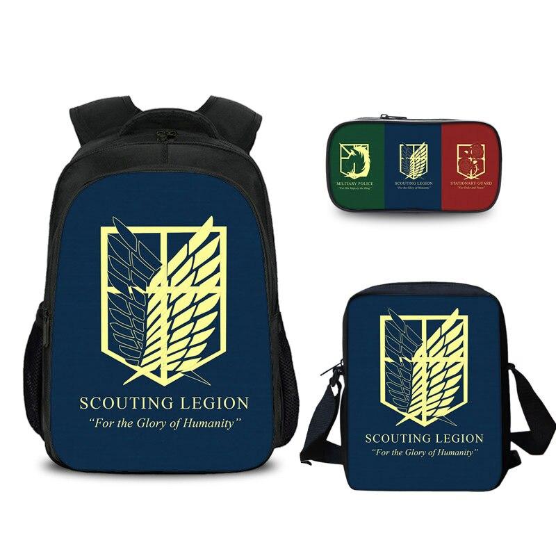حقيبة مدرسية هجوم على تيتان على ظهره حقيبة سفر الكمبيوتر الكرتون أجنحة الطرفية من الحرية