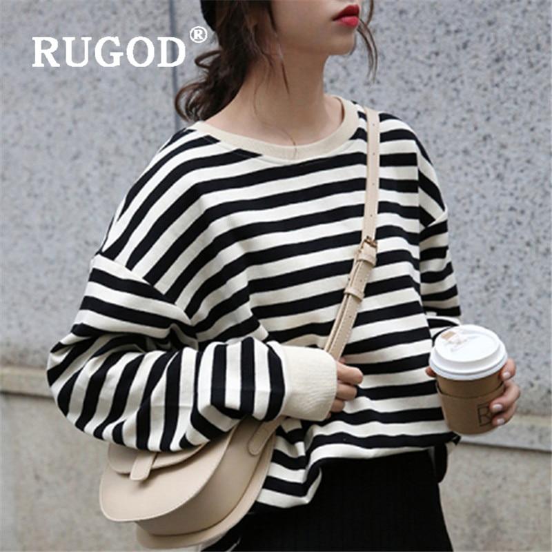 RUGOD 2021 الربيع مخطط البلوز المرأة Kipop حجم كبير الكورية نمط الشارع الشهير فضفاض أنيق فائق السيدات الكورية شيك القمم 2020