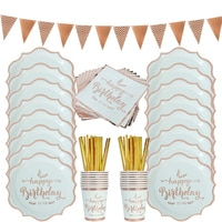 74 шт./компл. столовые приборы для дня рождения из розового золота, украшения для салфеток, чашки для салфеток, одноразовые тарелки для взросл...