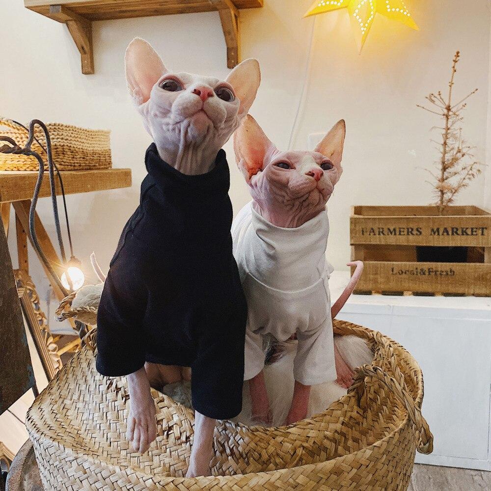 Branca para Gato de Estimação Gato Roupas Sphinx Algodão Anti-alergia Verão Preto Camisa Camiseta