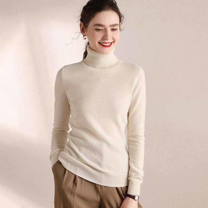 100% Cashmere Sweater Women Turtleneck Long Sleeves Autumn Winter Warm Thickening Sweater Women's Knitting Jumper Female Sweater enlarge